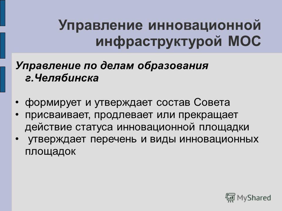 Управление инновационной инфраструктурой МОС Управление по делам образования г.Челябинска формирует и утверждает состав Совета присваивает, продлевает или прекращает действие статуса инновационной площадки утверждает перечень и виды инновационных пло