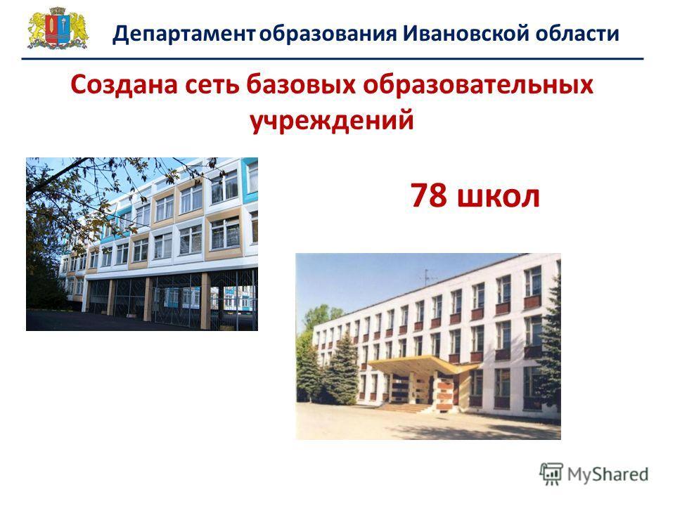 78 школ Создана сеть базовых образовательных учреждений Департамент образования Ивановской области