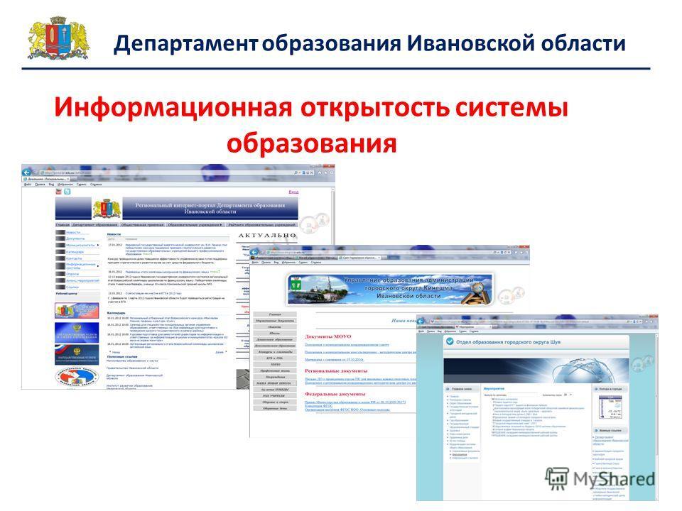 Информационная открытость системы образования Департамент образования Ивановской области