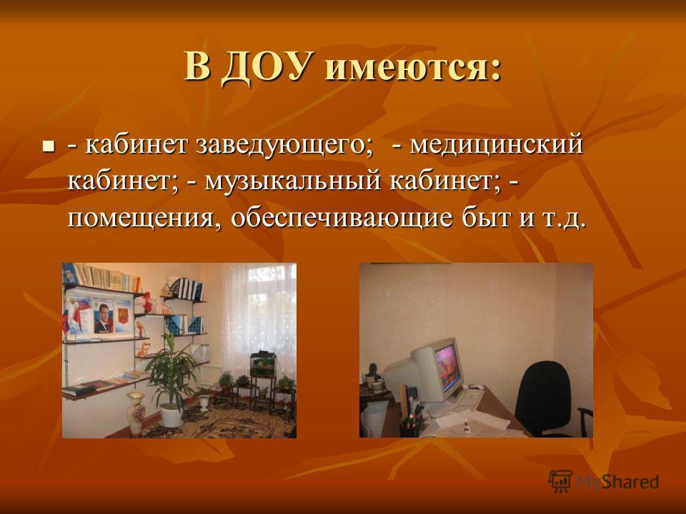 В ДОУ имеются: - кабинет заведующего; - медицинский кабинет; - музыкальный кабинет; - помещения, обеспечивающие быт и т.д.