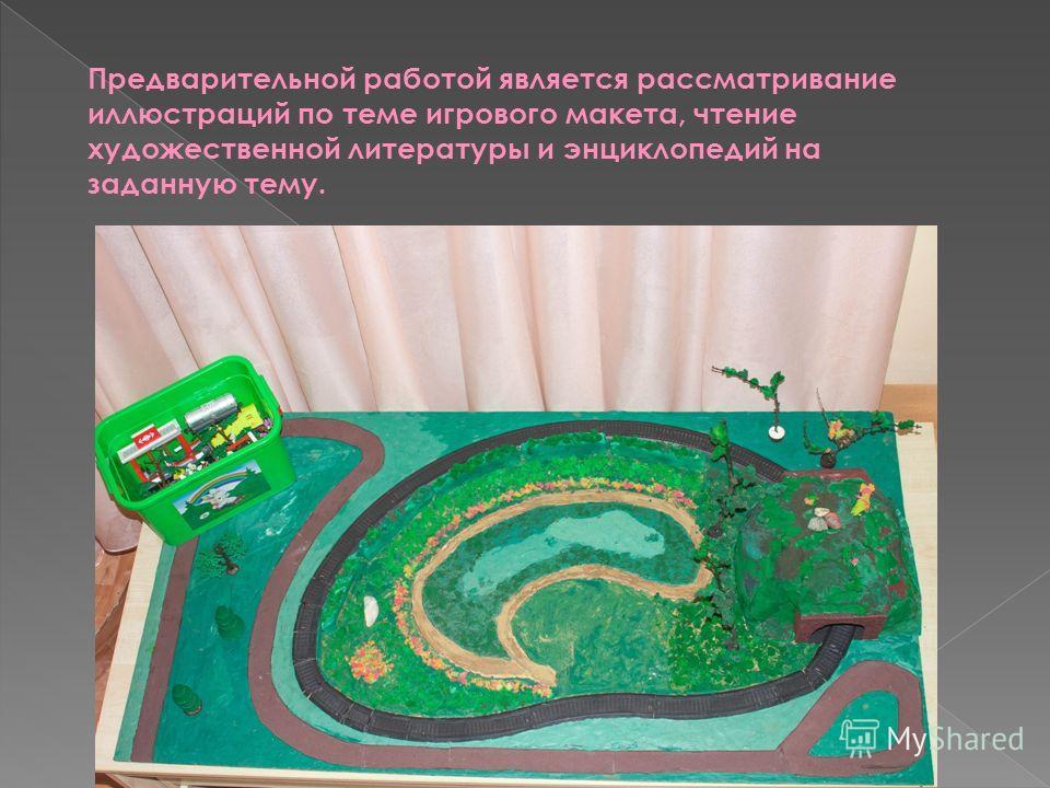 Предварительной работой является рассматривание иллюстраций по теме игрового макета, чтение художественной литературы и энциклопедий на заданную тему.
