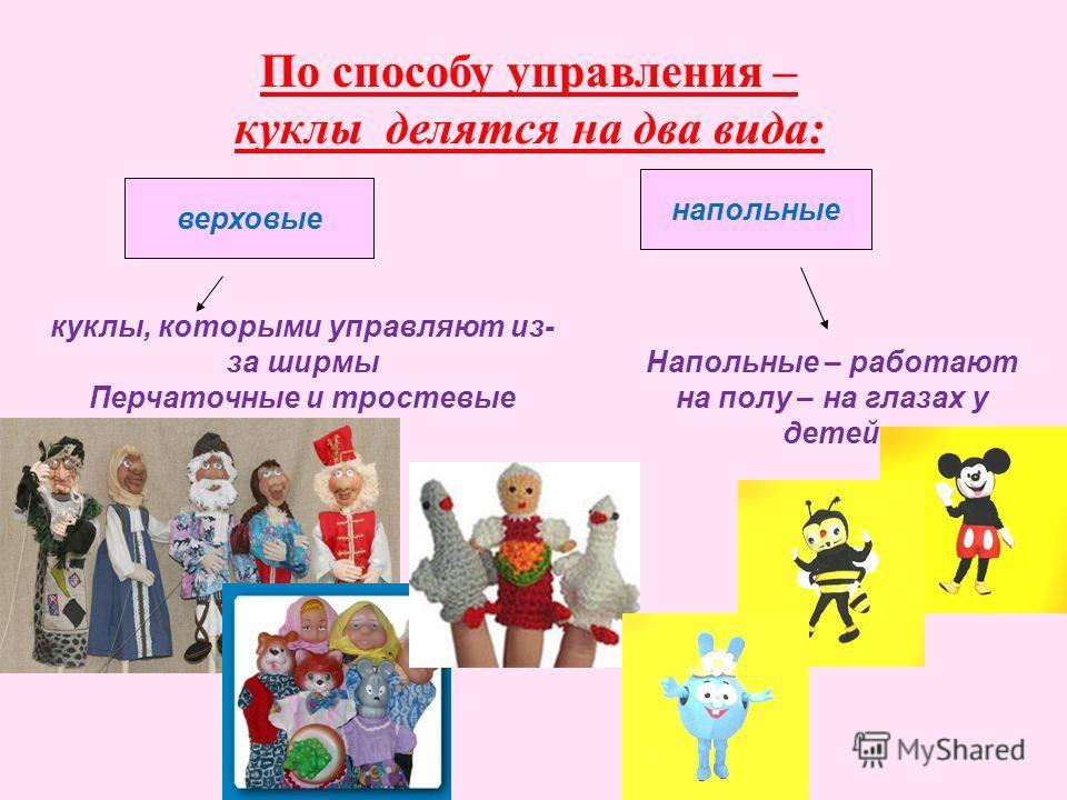 По способу управления – куклы делятся на два вида: верховые напольные куклы, которыми управляют из- за ширмы Перчаточные и тростевые Напольные – работают на полу – на глазах у детей