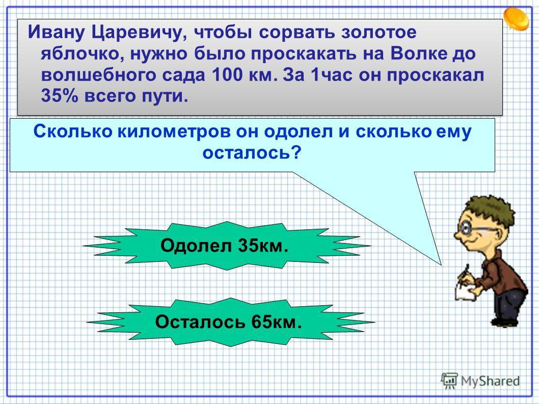 Ивану Царевичу, чтобы сорвать золотое яблочко, нужно было проскакать на Волке до волшебного сада 100 км. За 1час он проскакал 35% всего пути. Сколько километров он одолел и сколько ему осталось? Одолел 35км. Осталось 65км.