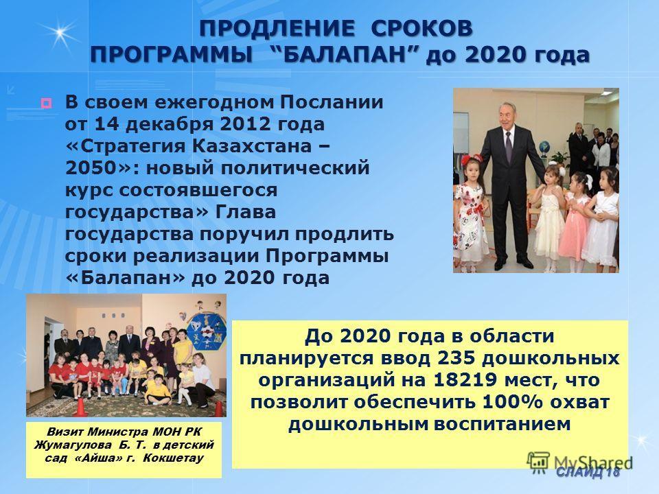 ПРОДЛЕНИЕ СРОКОВ ПРОГРАММЫ БАЛАПАН до 2020 года В своем ежегодном Послании от 14 декабря 2012 года «Стратегия Казахстана – 2050»: новый политический курс состоявшегося государства» Глава государства поручил продлить сроки реализации Программы «Балапа