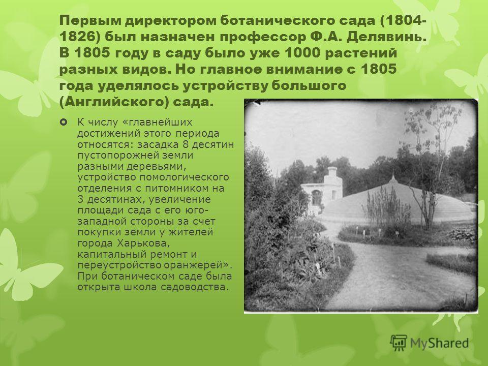 Первым директором ботанического сада (1804- 1826) был назначен профессор Ф.А. Делявинь. В 1805 году в саду было уже 1000 растений разных видов. Но главное внимание с 1805 года уделялось устройству большого (Английского) сада. К числу «главнейших дост