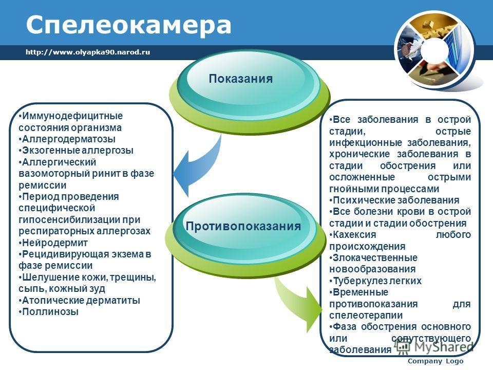 http://www.olyapka90.narod.ru Company Logo Спелеокамера Показания Иммунодефицитные состояния организма Аллергодерматозы Экзогенные аллергозы Аллергический вазомоторный ринит в фазе ремиссии Период проведения специфической гипосенсибилизации при респи