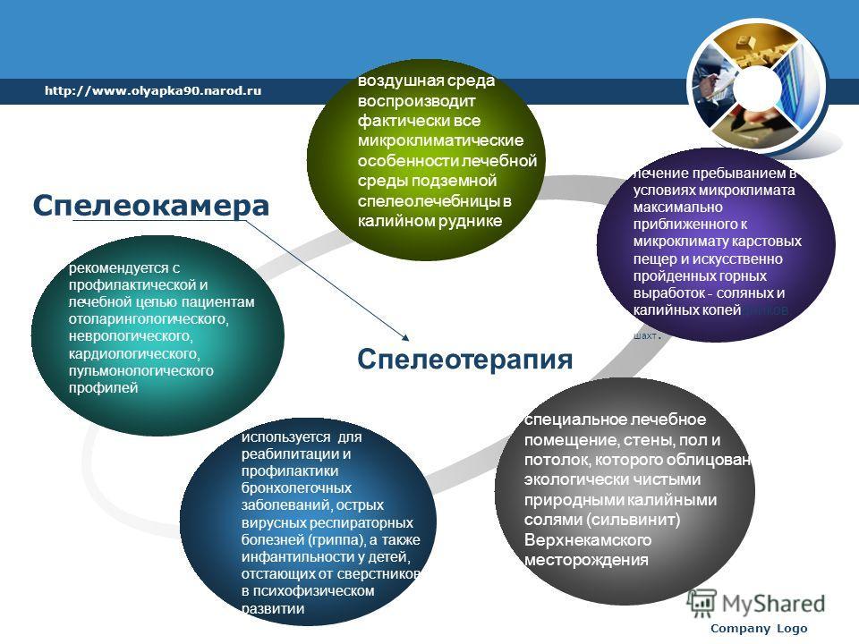 http://www.olyapka90.narod.ru Company Logo рекомендуется с профилактической и лечебной целью пациентам отоларингологического, неврологического, кардиологического, пульмонологического профилей воздушная среда воспроизводит фактически все микроклиматич