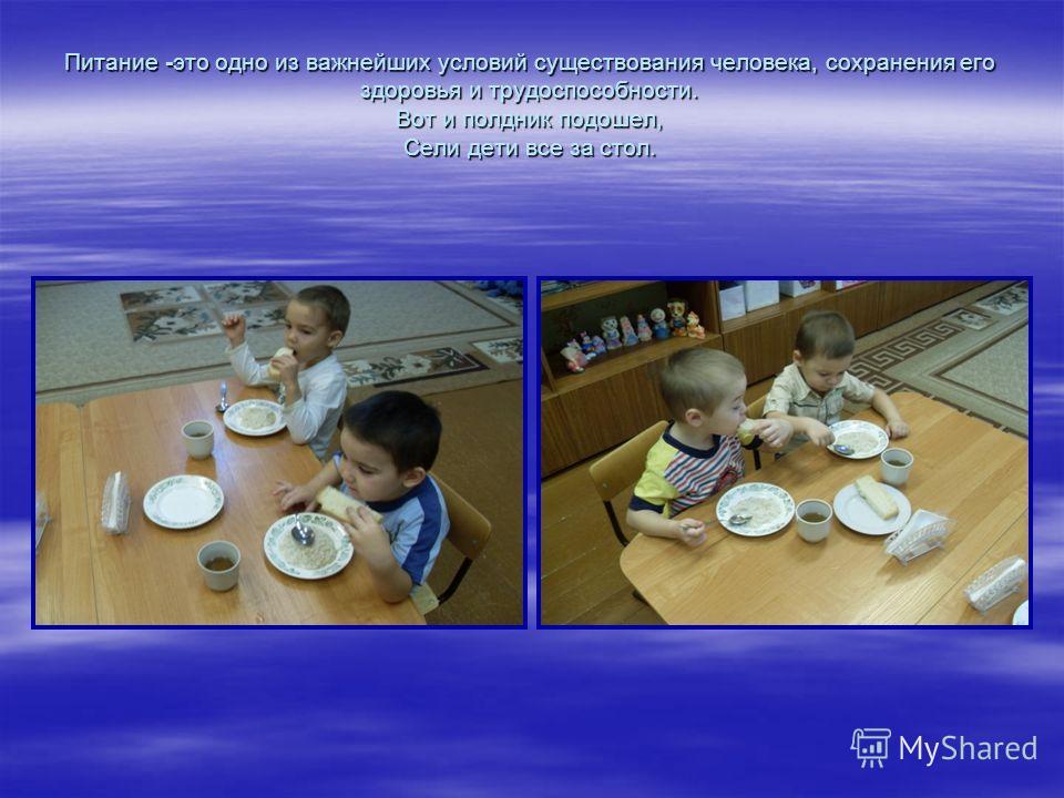 Питание -это одно из важнейших условий существования человека, сохранения его здоровья и трудоспособности. Вот и полдник подошел, Сели дети все за стол.