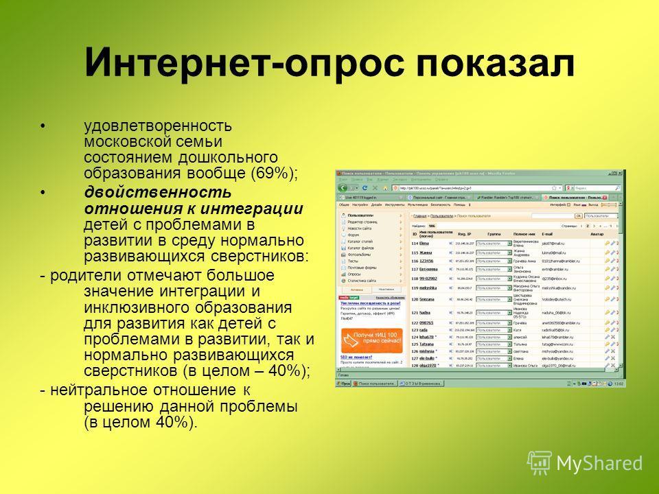 Интернет-опрос показал удовлетворенность московской семьи состоянием дошкольного образования вообще (69%); двойственность отношения к интеграции детей с проблемами в развитии в среду нормально развивающихся сверстников: - родители отмечают большое зн