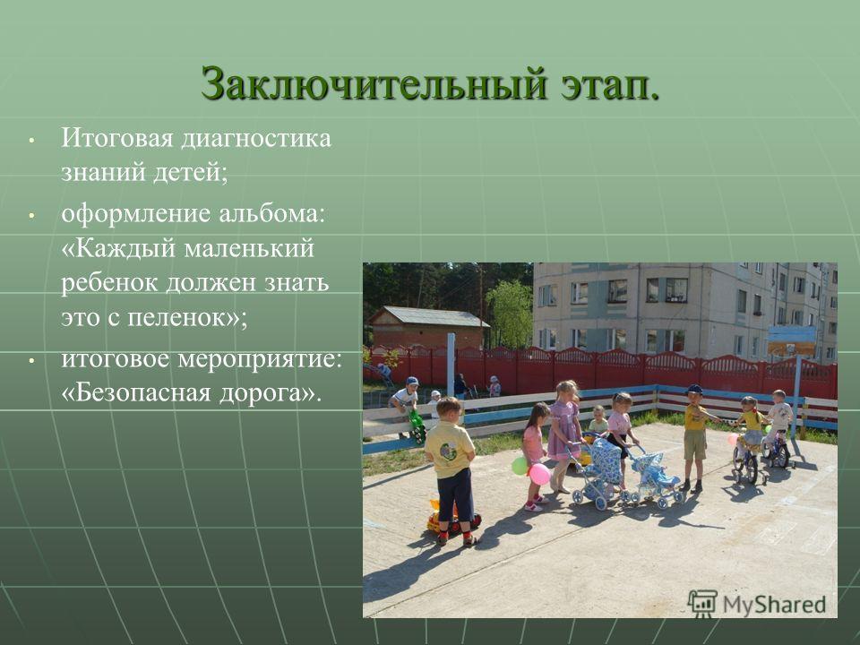 Заключительный этап. Итоговая диагностика знаний детей; оформление альбома: «Каждый маленький ребенок должен знать это с пеленок»; итоговое мероприятие: «Безопасная дорога».