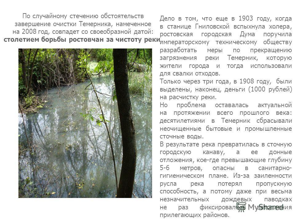 По случайному стечению обстоятельств завершение очистки Темерника, намеченное на 2008 год, совпадет со своеобразной датой: столетием борьбы ростовчан за чистоту реки. Дело в том, что еще в 1903 году, когда в станице Гниловской вспыхнула холера, росто