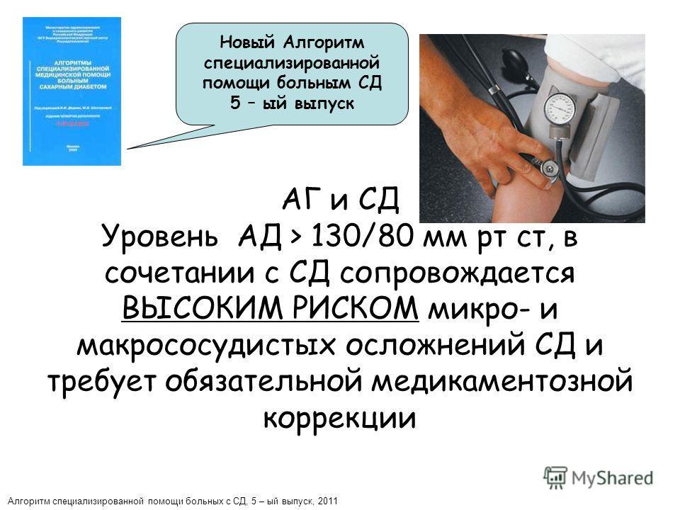 АГ и СД Уровень АД > 130/80 мм рт ст, в сочетании с СД сопровождается ВЫСОКИМ РИСКОМ микро- и макрососудистых осложнений СД и требует обязательной медикаментозной коррекции Алгоритм специализированной помощи больных с СД, 5 – ый выпуск, 2011 Новый Ал