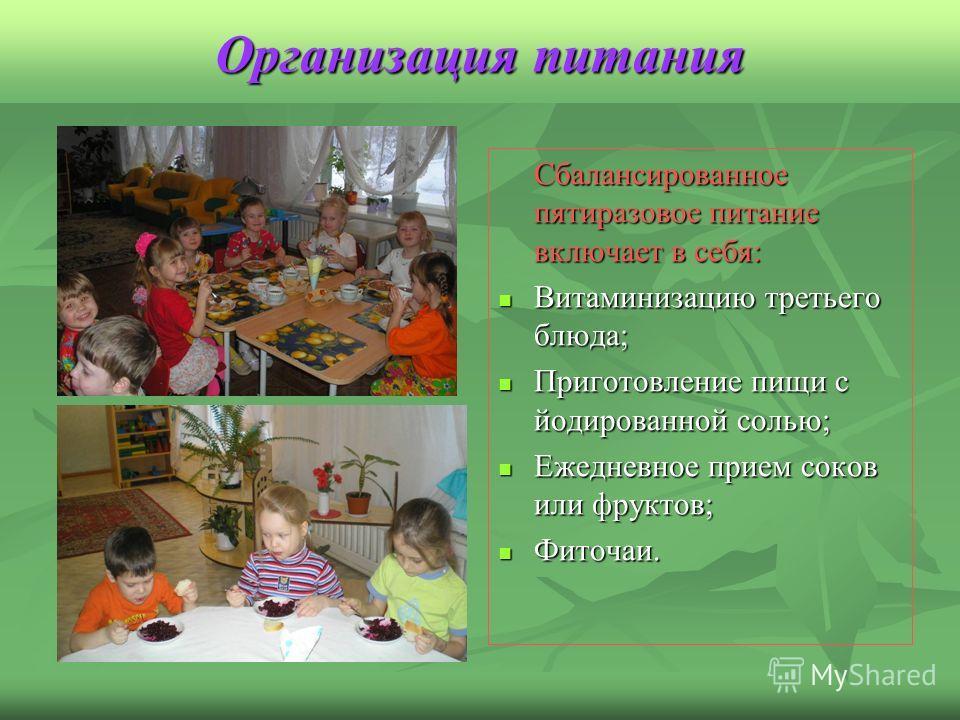Организация питания Сбалансированное пятиразовое питание включает в себя: Витаминизацию третьего блюда; Витаминизацию третьего блюда; Приготовление пищи с йодированной солью; Приготовление пищи с йодированной солью; Ежедневное прием соков или фруктов