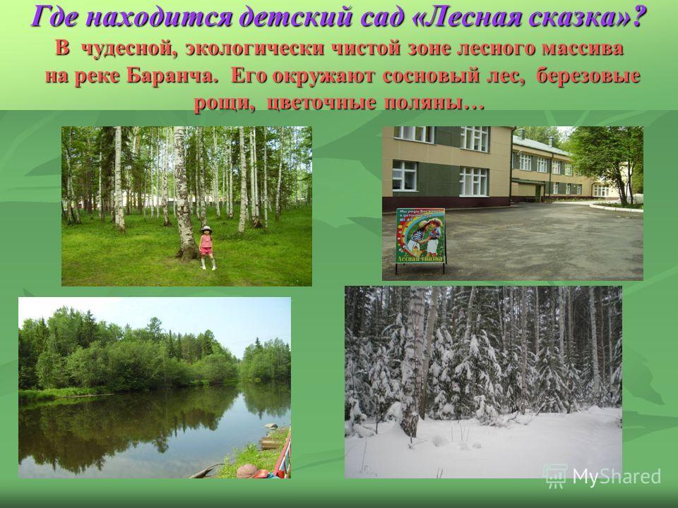 Где находится детский сад «Лесная сказка»? В чудесной, экологически чистой зоне лесного массива на реке Баранча. Его окружают сосновый лес, березовые рощи, цветочные поляны…