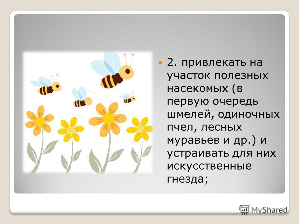 2. привлекать на участок полезных насекомых (в первую очередь шмелей, одиночных пчел, лесных муравьев и др.) и устраивать для них искусственные гнезда;