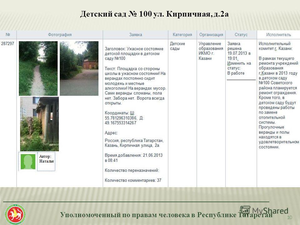 Уполномоченный по правам человека в Республике Татарстан _______________________________________________________________________ 10 Детский сад 100 ул. Кирпичная, д.2а