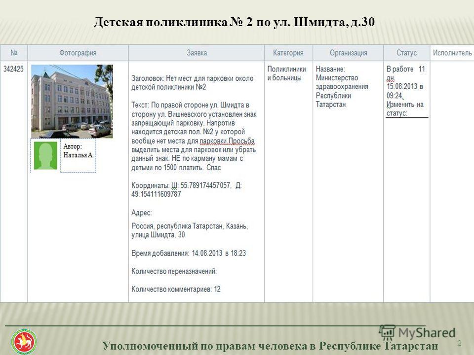 Уполномоченный по правам человека в Республике Татарстан _______________________________________________________________________ 2 Детская поликлиника 2 по ул. Шмидта, д.30