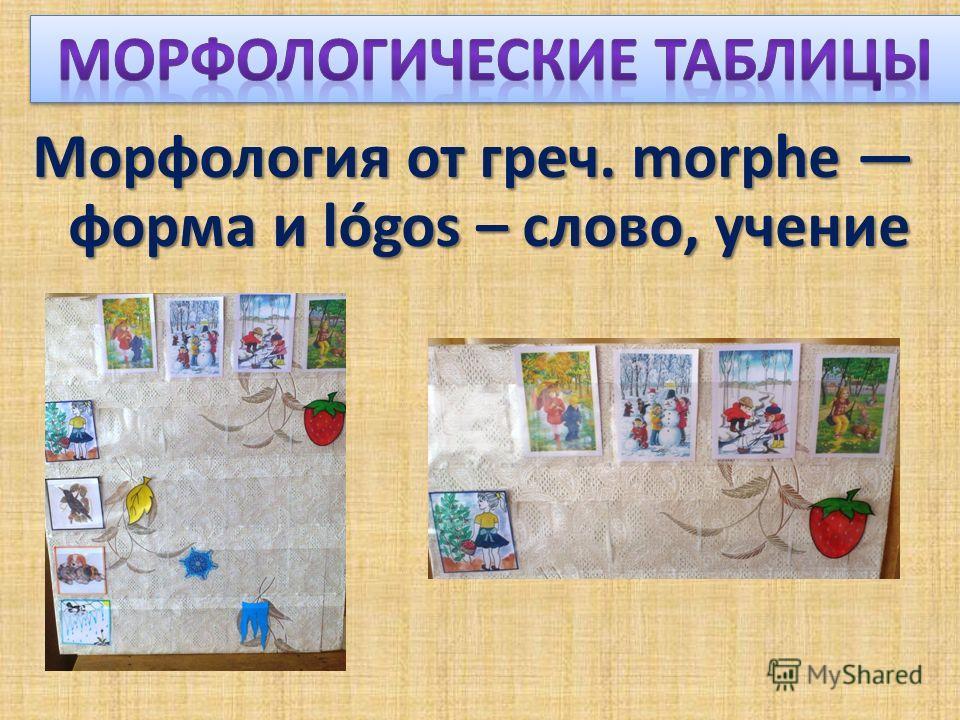Морфология от греч. morphe форма и lógos – слово, учение