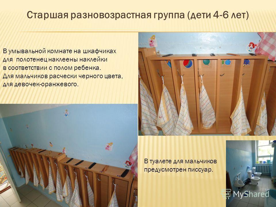 Старшая разновозрастная группа (дети 4-6 лет) В умывальной комнате на шкафчиках для полотенец наклеены наклейки в соответствии с полом ребенка. Для мальчиков расчески черного цвета, для девочек-оранжевого. В туалете для мальчиков предусмотрен писсуар