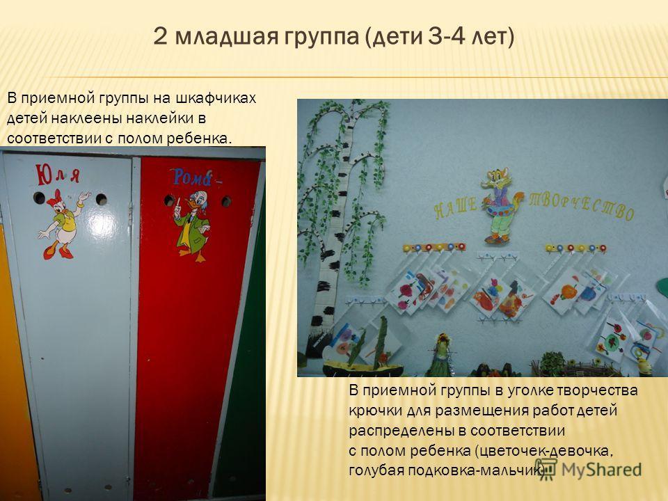 2 младшая группа (дети 3-4 лет) В приемной группы на шкафчиках детей наклеены наклейки в соответствии с полом ребенка. В приемной группы в уголке творчества крючки для размещения работ детей распределены в соответствии с полом ребенка (цветочек-девоч