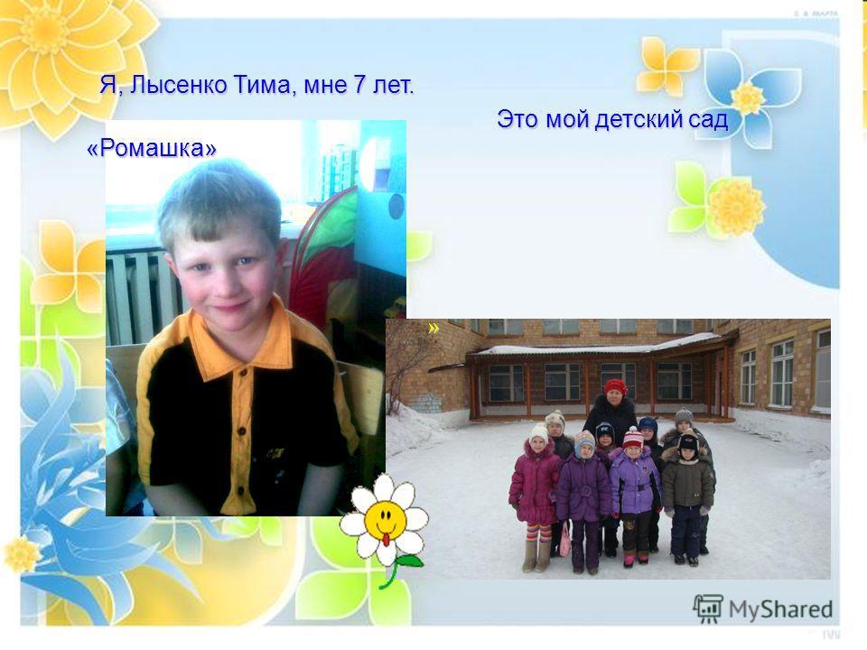 Я, Лысенко Тима, мне 7 лет. Я, Лысенко Тима, мне 7 лет. Это мой детский сад «Ромашка» Это мой детский сад «Ромашка» »