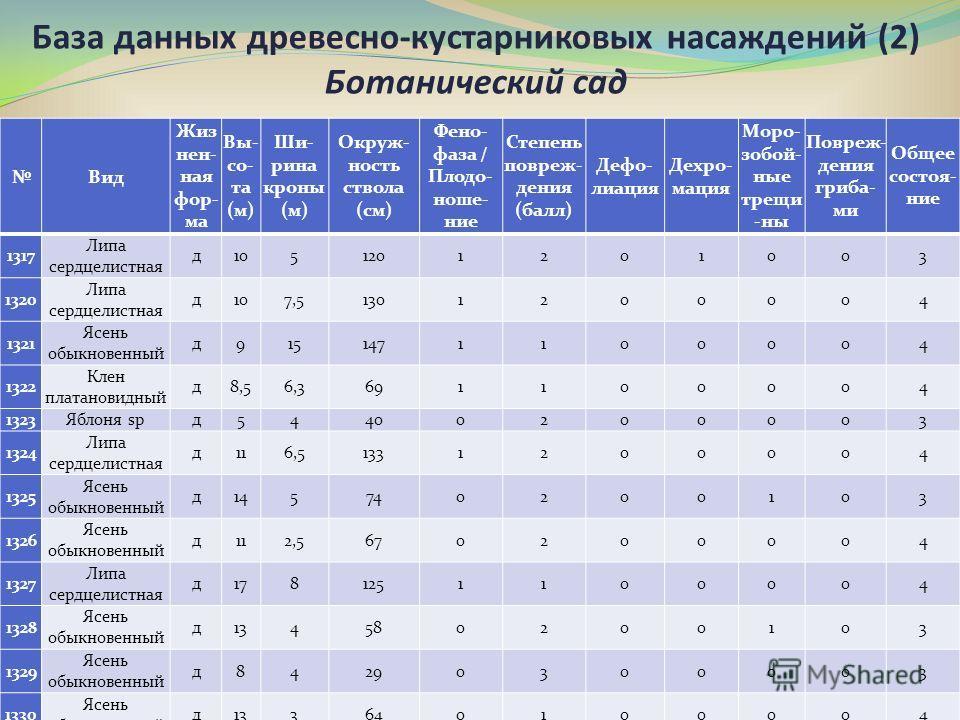 База данных древесно-кустарниковых насаждений (2) Ботанический сад Вид Жиз нен- ная фор- ма Вы- со- та (м) Ши- рина кроны (м) Окруж- ность ствола (см) Фено- фаза / Плодо- ноше- ние Степень повреж- дения (балл) Дефо- лиация Дехро- мация Моро- зобой- н