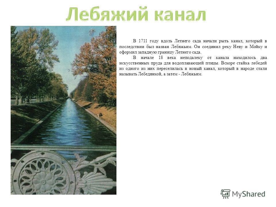 В 1711 году вдоль Летнего сада начали рыть канал, который в последствии был назван Лебяжьим. Он соединил реку Неву и Мойку и оформил западную границу Летнего сада. В начале 18 века неподалеку от канала находилось два искусственных пруда для водоплава