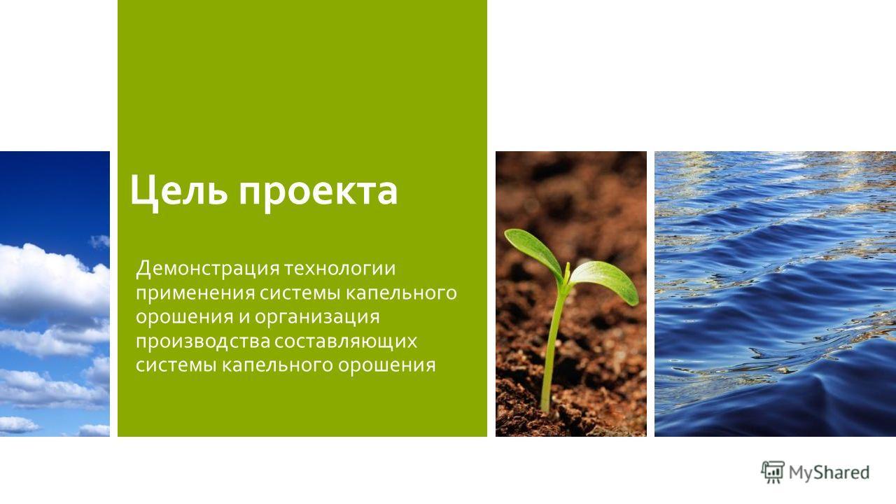 Цель проекта Демонстрация технологии применения системы капельного орошения и организация производства составляющих системы капельного орошения