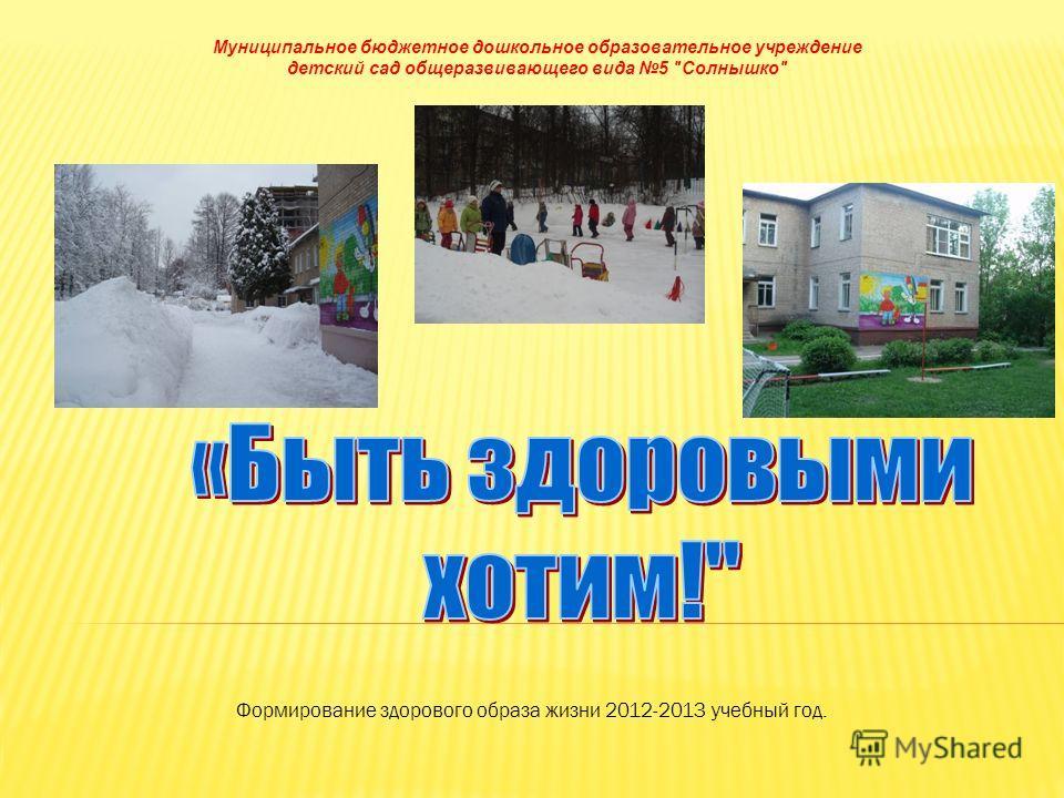 Муниципальное бюджетное дошкольное образовательное учреждение детский сад общеразвивающего вида 5 Солнышко Формирование здорового образа жизни 2012-2013 учебный год.