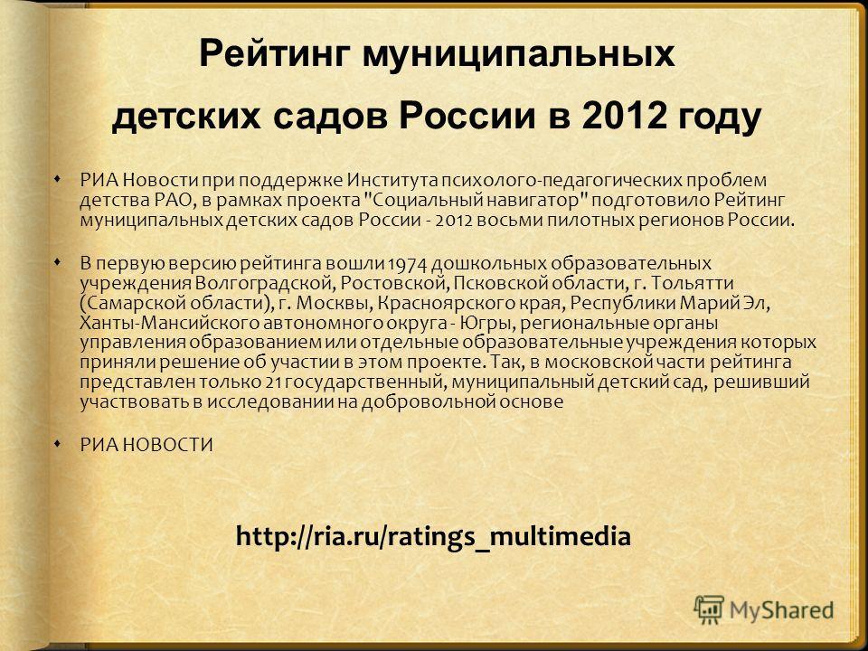 Рейтинг муниципальных детских садов России в 2012 году РИА Новости при поддержке Института психолого-педагогических проблем детства РАО, в рамках проекта