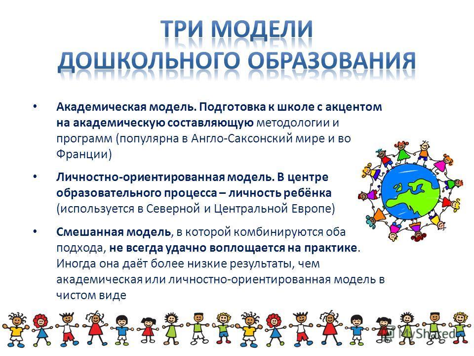 Академическая модель. Подготовка к школе с акцентом на академическую составляющую методологии и программ (популярна в Англо-Саксонский мире и во Франции) Личностно-ориентированная модель. В центре образовательного процесса – личность ребёнка (использ