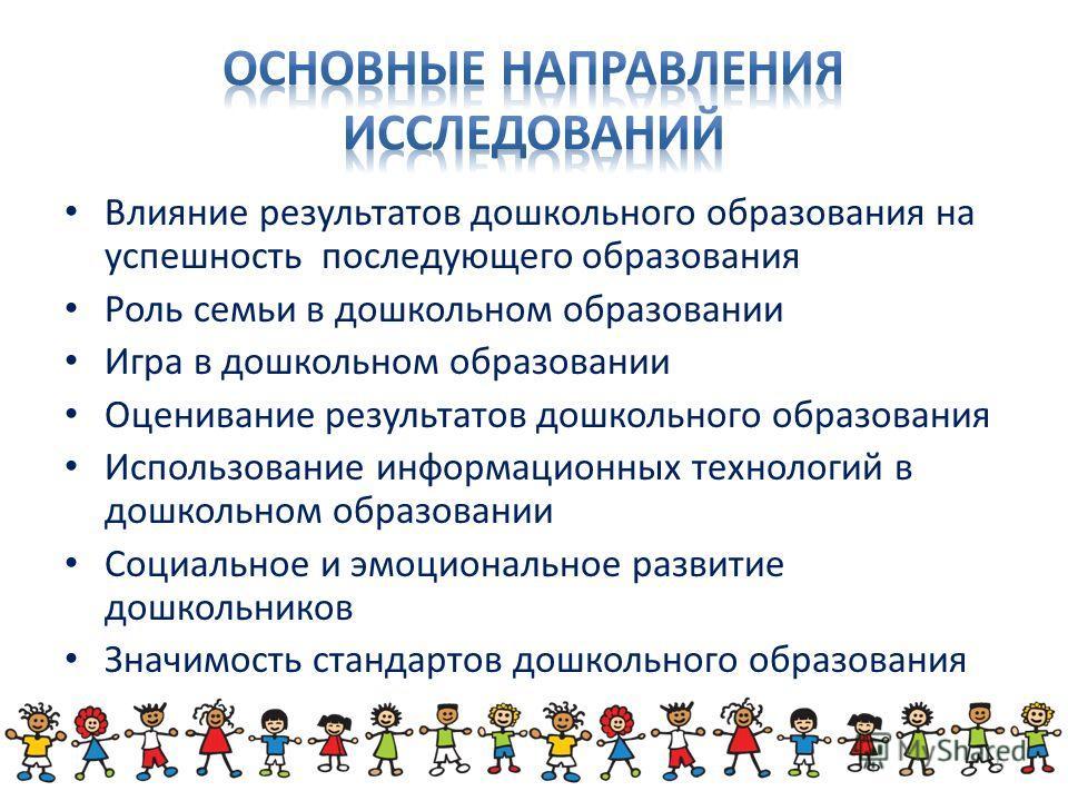 Влияние результатов дошкольного образования на успешность последующего образования Роль семьи в дошкольном образовании Игра в дошкольном образовании Оценивание результатов дошкольного образования Использование информационных технологий в дошкольном о