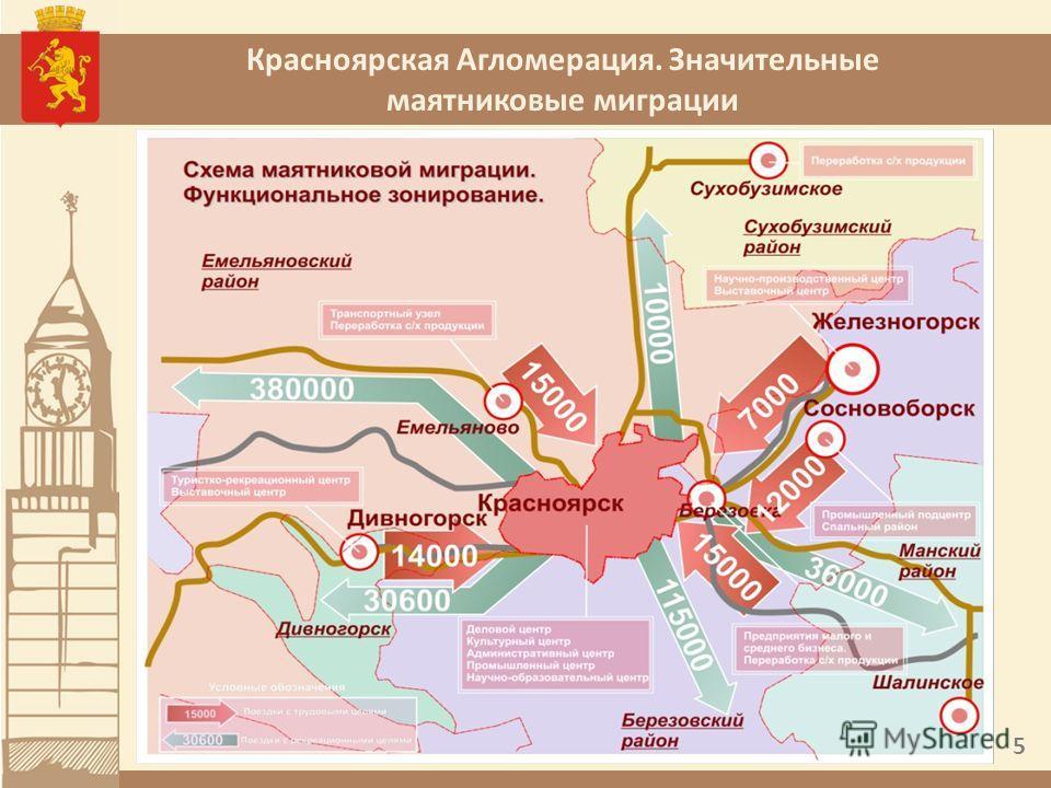 Красноярская Агломерация. Значительные маятниковые миграции 5