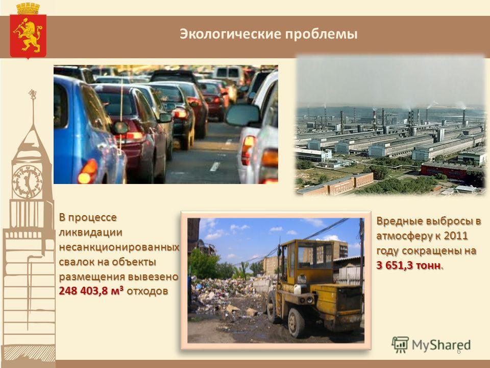 Экологические проблемы 6 Вредные выбросы в атмосферу к 2011 году сокращены на 3 651,3 тонн. В процессе ликвидации несанкционированных свалок на объекты размещения вывезено 248 403,8 м 3 отходов