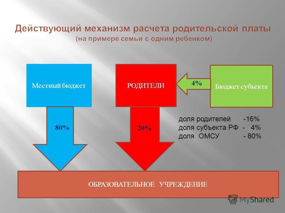 80%8 Местный бюджетРОДИТЕЛИ Бюджет субъекта ОБРАЗОВАТЕЛЬНОЕ УЧРЕЖДЕНИЕ 20% 80% 4% доля родителей -16% доля субъекта РФ - 4% доля ОМСУ - 80%