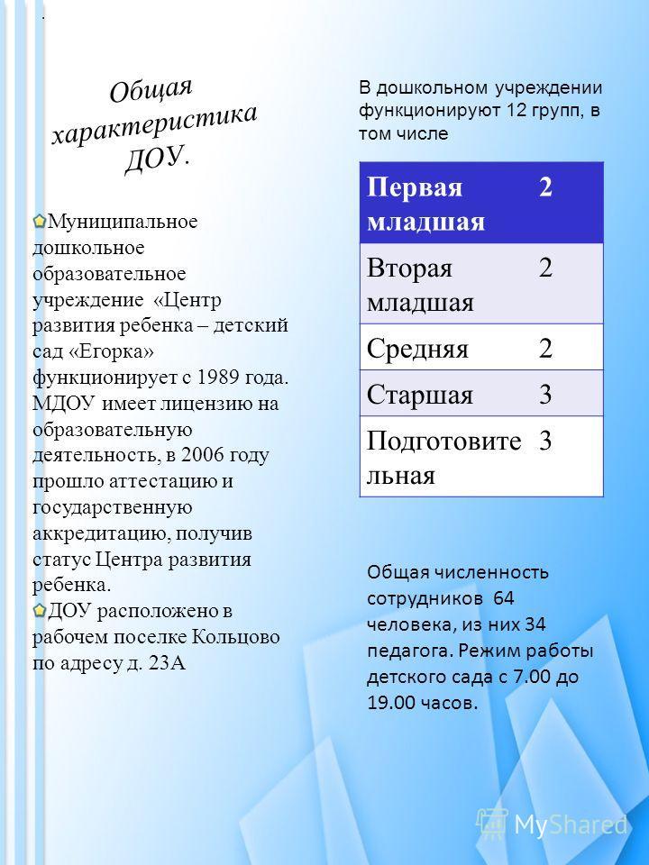 Общая характеристика ДОУ. Муниципальное дошкольное образовательное учреждение «Центр развития ребенка – детский сад «Егорка» функционирует с 1989 года. МДОУ имеет лицензию на образовательную деятельность, в 2006 году прошло аттестацию и государственн