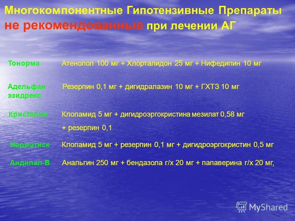 Многокомпонентные Гипотензивные Препараты не рекомендованные при лечении АГ Тонорма Атенолол 100 мг + Хлорталидон 25 мг + Нифедипин 10 мг Адельфан Резерпин 0,1 мг + дигидралазин 10 мг + ГХТЗ 10 мг эзидрекс Кристепин Клопамид 5 мг + дигидроэргокристин