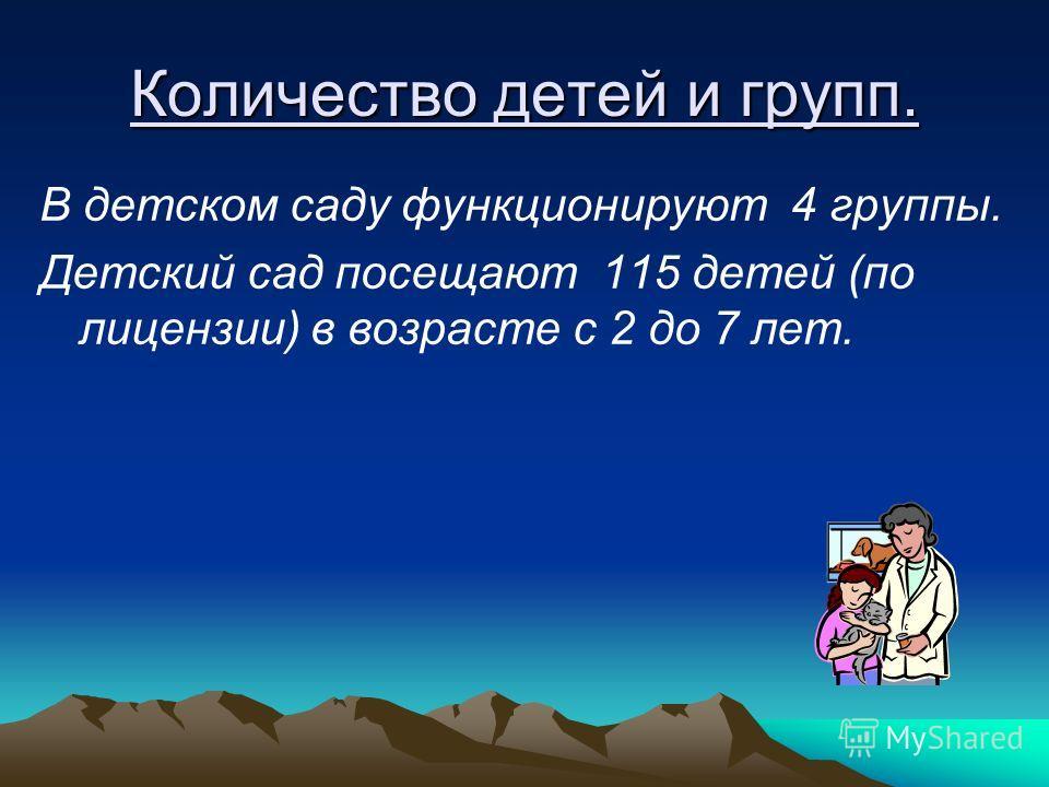 Количество детей и групп. В детском саду функционируют 4 группы. Детский сад посещают 115 детей (по лицензии) в возрасте с 2 до 7 лет.