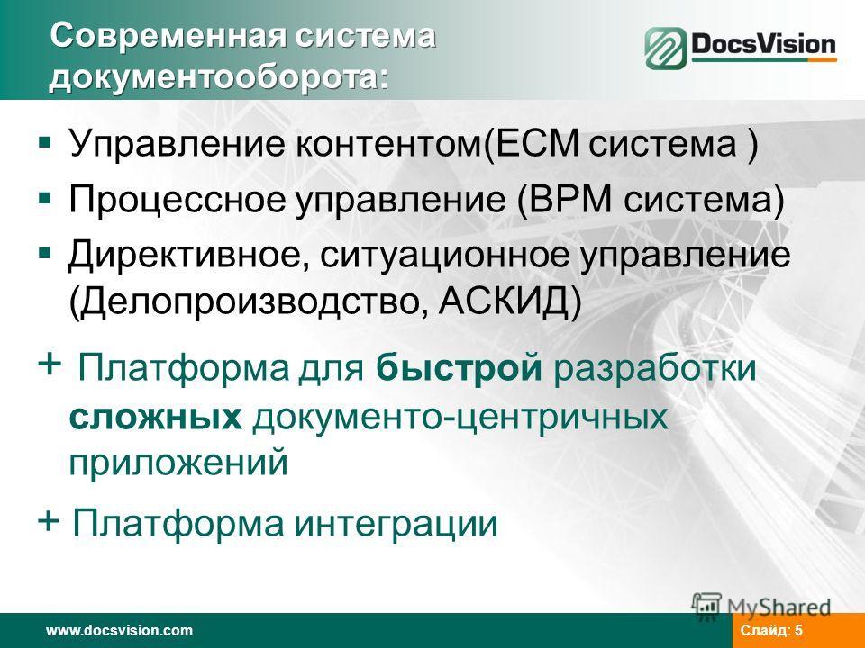 www.docsvision.comСлайд: 5 Современная система документооборота: Управление контентом(ECM система ) Процессное управление (BPM система) Директивное, ситуационное управление (Делопроизводство, АСКИД) + Платформа для быстрой разработки сложных документ