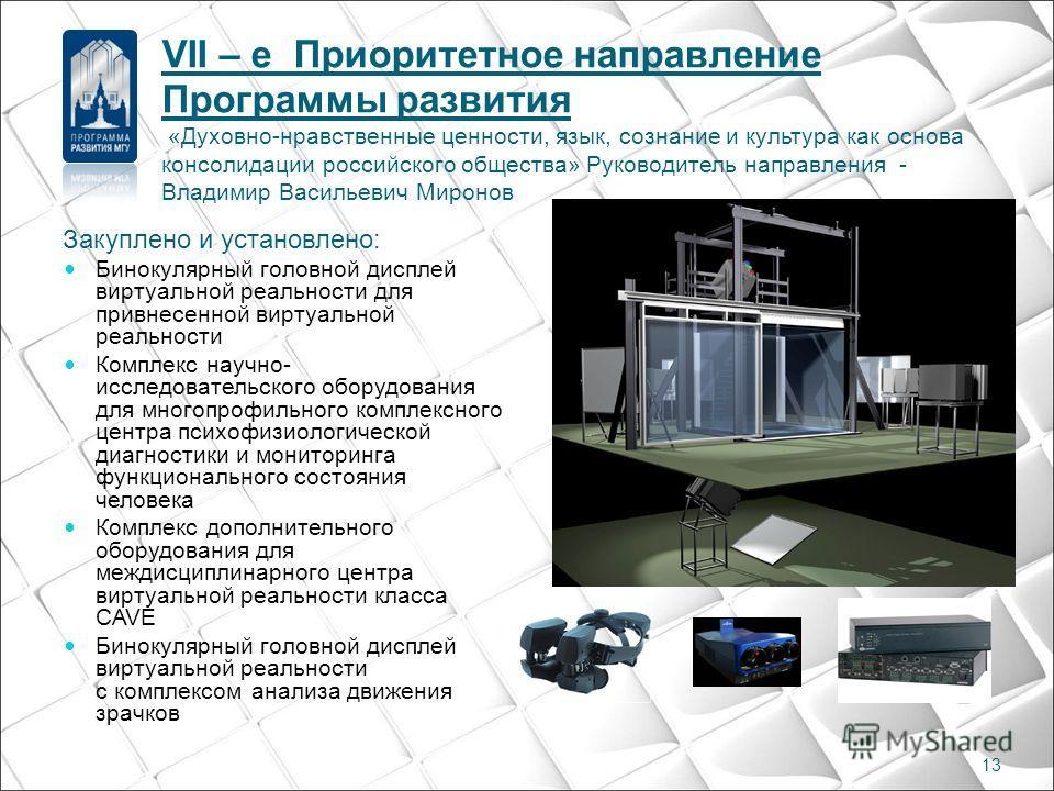 Закуплено и установлено: Бинокулярный головной дисплей виртуальной реальности для привнесенной виртуальной реальности Комплекс научно- исследовательского оборудования для многопрофильного комплексного центра психофизиологической диагностики и монитор