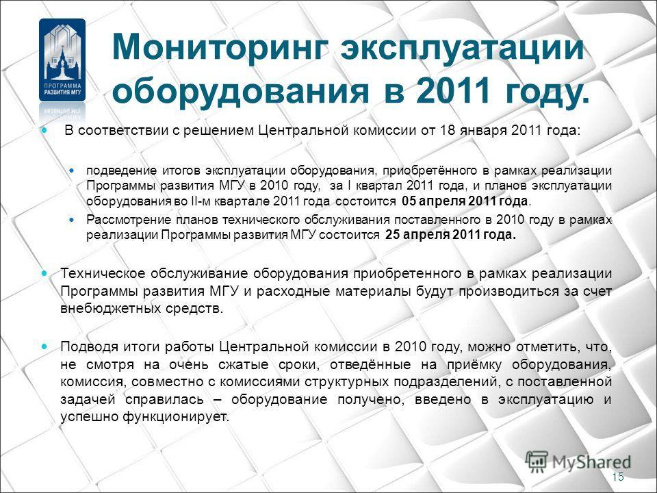 Мониторинг эксплуатации оборудования в 2011 году. В соответствии с решением Центральной комиссии от 18 января 2011 года: подведение итогов эксплуатации оборудования, приобретённого в рамках реализации Программы развития МГУ в 2010 году, за I квартал