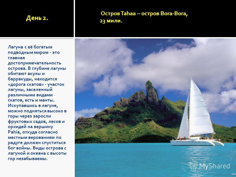 День 2. Лагуна с её богатым подводным миром - это главная достопримечательность острова. В глубине лагуны обитают акулы и барракуды, находится «дорога скатов» - участок лагуны, заселенный различными видами скатов, есть и манты. Искупавшись в лагуне,