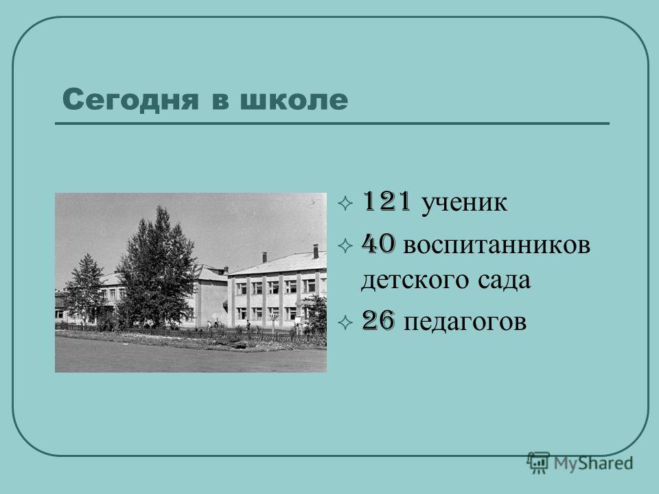 Сегодня в школе 121 ученик 40 воспитанников детского сада 26 педагогов