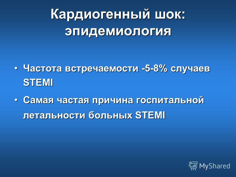Кардиогенный шок: эпидемиология Частота встречаемости -5-8% случаев STEMIЧастота встречаемости -5-8% случаев STEMI Самая частая причина госпитальной летальности больных STEMIСамая частая причина госпитальной летальности больных STEMI