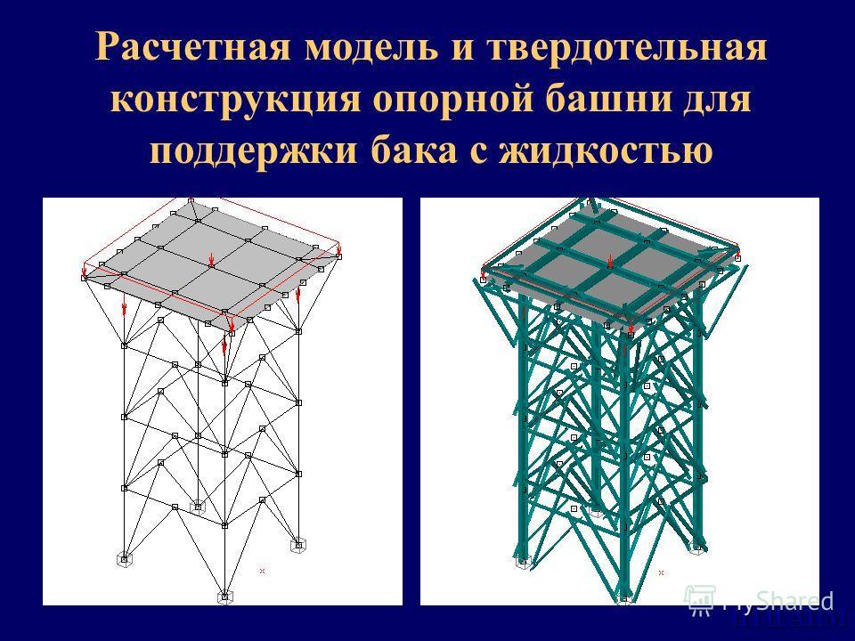 НТЦ АПМ Расчетная модель и твердотельная конструкция опорной башни для поддержки бака с жидкостью