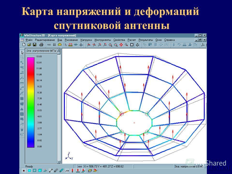НТЦ АПМ Карта напряжений и деформаций спутниковой антенны