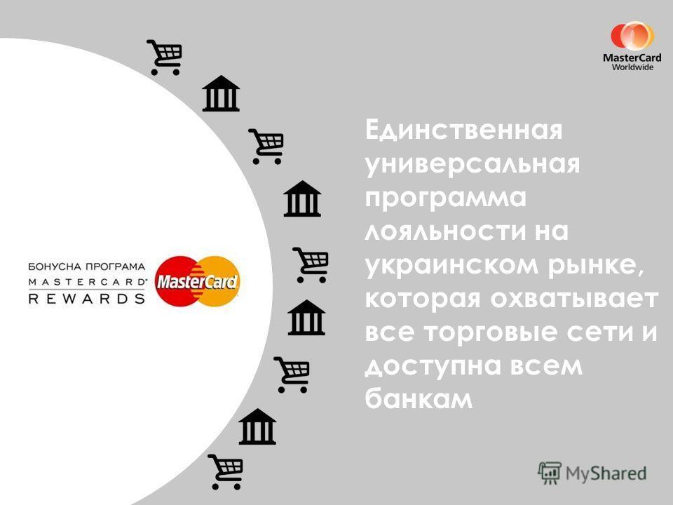 Единственная универсальная программа лояльности на украинском рынке, которая охватывает все торговые сети и доступна всем банкам