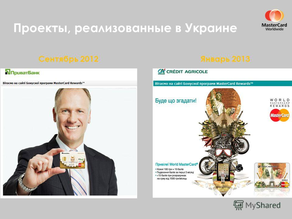 Проекты, реализованные в Украине Сентябрь 2012Январь 2013