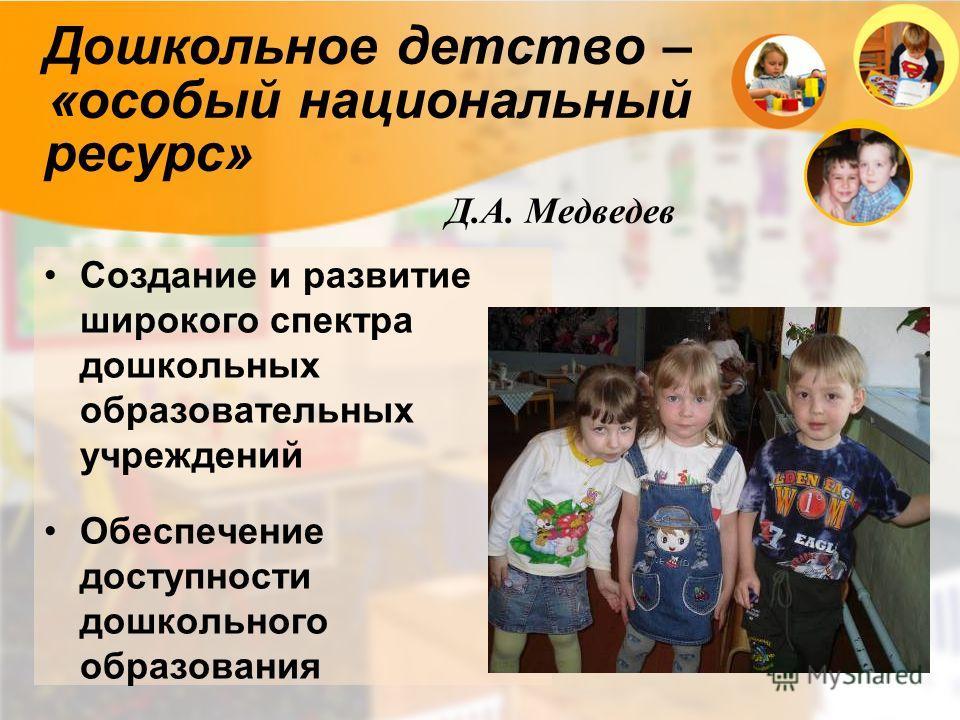 Дошкольное детство – «особый национальный ресурс» Д.А. Медведев Создание и развитие широкого спектра дошкольных образовательных учреждений Обеспечение доступности дошкольного образования