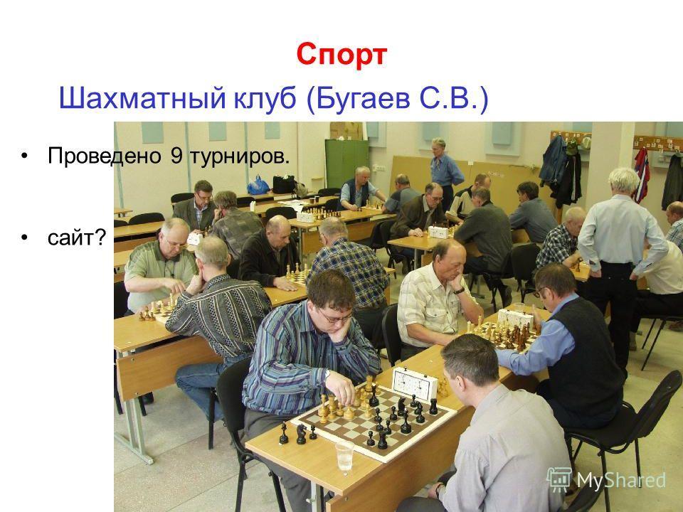 Спорт Шахматный клуб (Бугаев С.В.) Проведено 9 турниров. сайт?